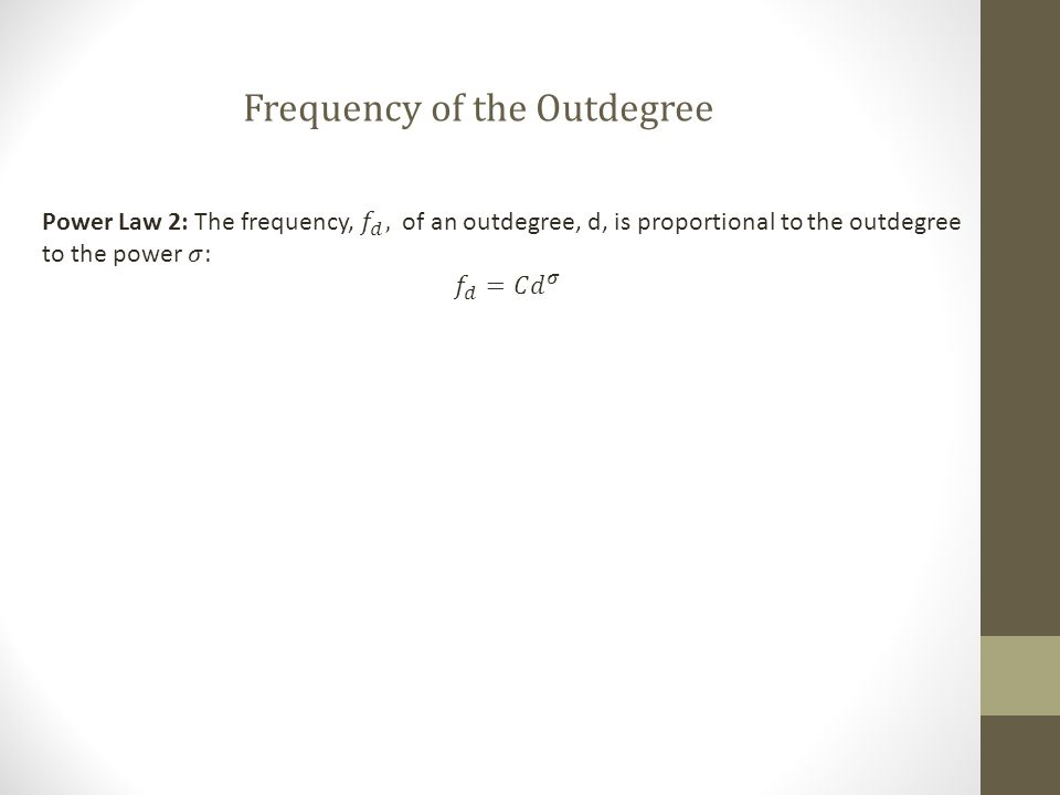 Frequency of the Outdegree