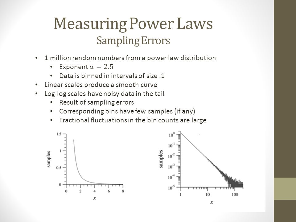 Measuring Power Laws Sampling errors Solution 1: Throw out the data in the tail of the curve Statistically significant information lost Some distributions only follow a power law distribution in their tail Not recommended
