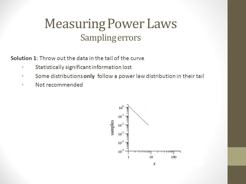 Measuring Power Laws Sampling errors Solution 2: Very the width of the bins Normalize the data Results in a count per unit interval of x Very bin size by a fixed multiplier (for example 2) Bins become: 1 to 1.1, 1.1 to 1.3, 1.3 to 1.7 and so on Called logarithmic binning