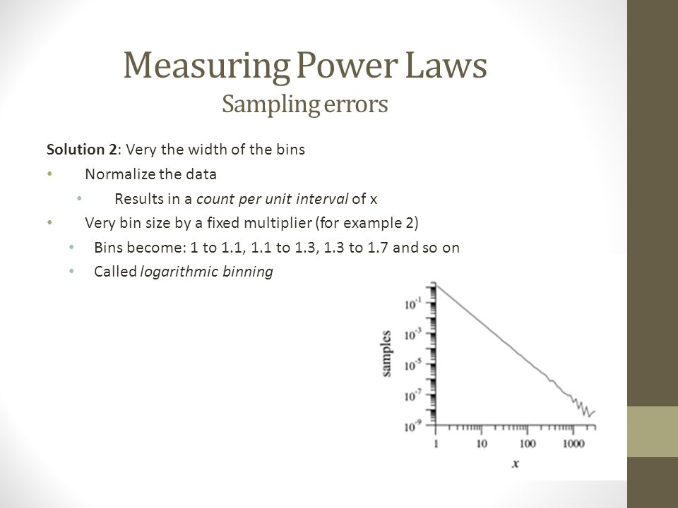 Measuring Power Laws Sampling errors Solution 2: Very the width of the bins Normalize the data Results in a count per unit interval of x Very bin size