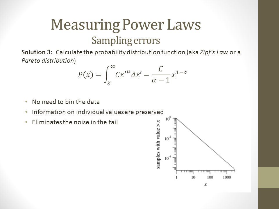 Measuring Power Laws Unknown exponent