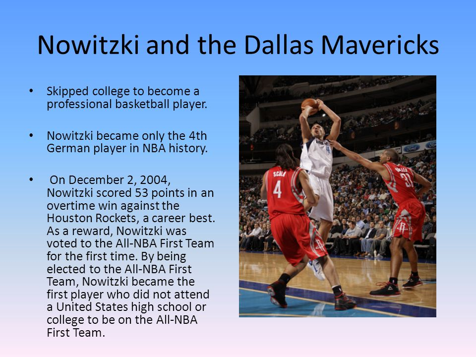 Nowitzki and the Dallas Mavericks Skipped college to become a professional basketball player.