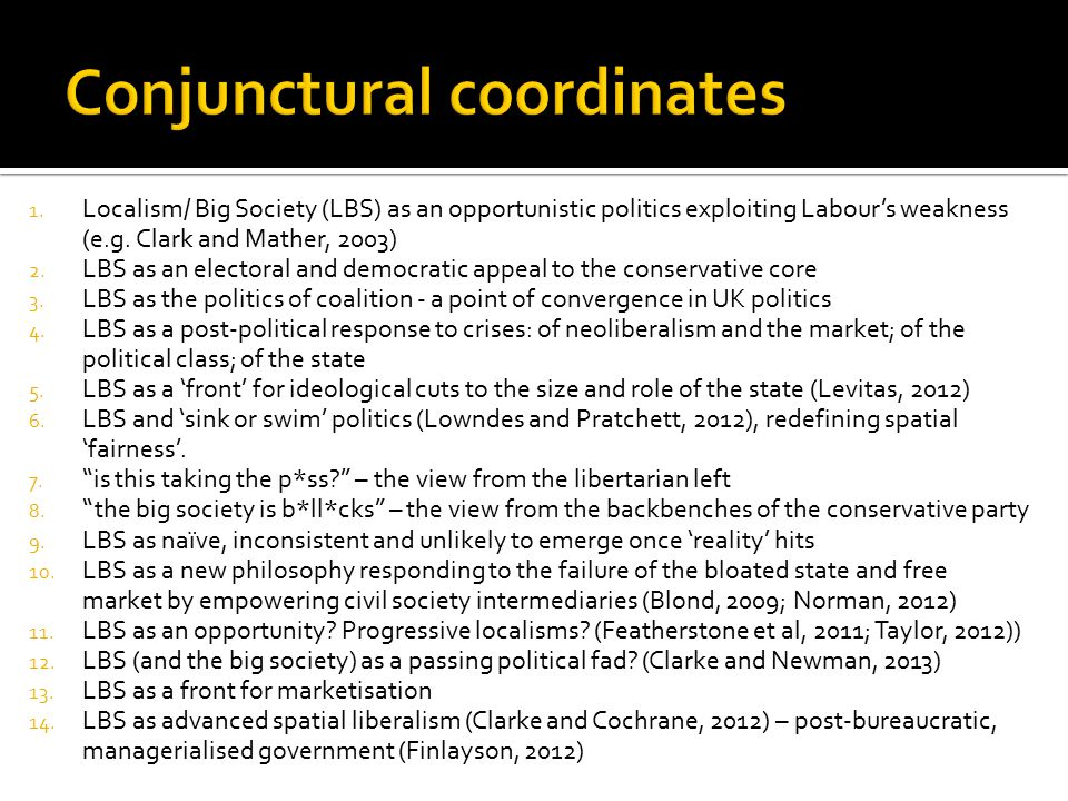 1. Localism/ Big Society (LBS) as an opportunistic politics exploiting Labour's weakness (e.g.