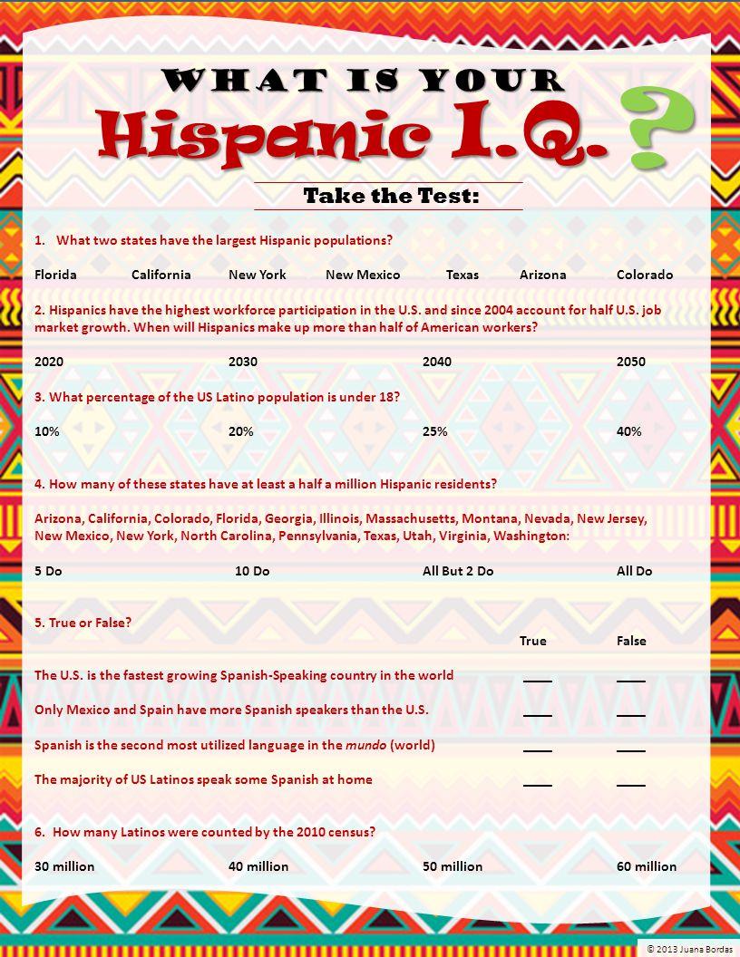 7.Since 2000, Hispanics constitute the nation's largest ethnic population.
