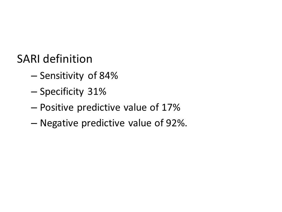 SARI definition – Sensitivity of 84% – Specificity 31% – Positive predictive value of 17% – Negative predictive value of 92%.