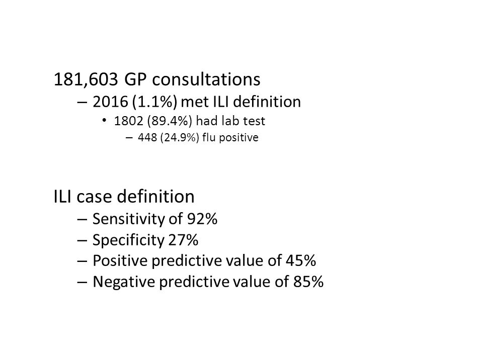181,603 GP consultations – 2016 (1.1%) met ILI definition 1802 (89.4%) had lab test – 448 (24.9%) flu positive ILI case definition – Sensitivity of 92% – Specificity 27% – Positive predictive value of 45% – Negative predictive value of 85%