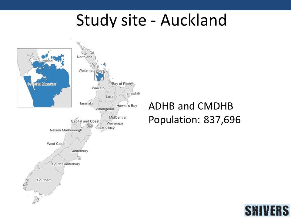 Study site - Auckland ADHB and CMDHB Population: 837,696