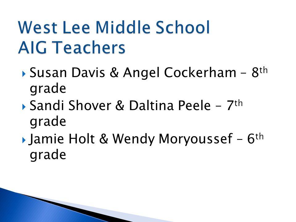  Susan Davis & Angel Cockerham – 8 th grade  Sandi Shover & Daltina Peele – 7 th grade  Jamie Holt & Wendy Moryoussef – 6 th grade