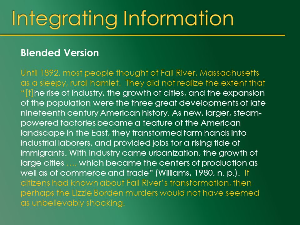 Blended Version Until 1892, most people thought of Fall River, Massachusetts as a sleepy, rural hamlet.