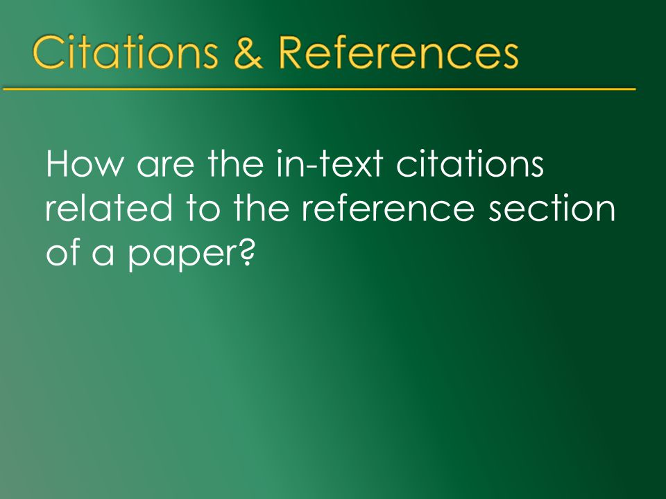 How are the in-text citations related to the reference section of a paper