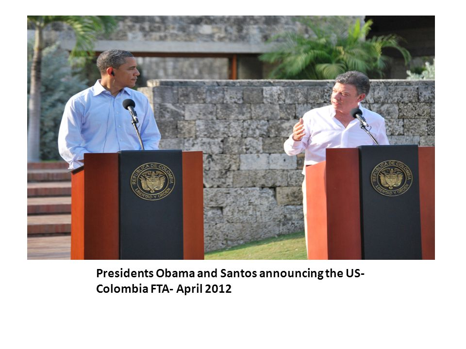 Presidents Obama and Santos announcing the US- Colombia FTA- April 2012