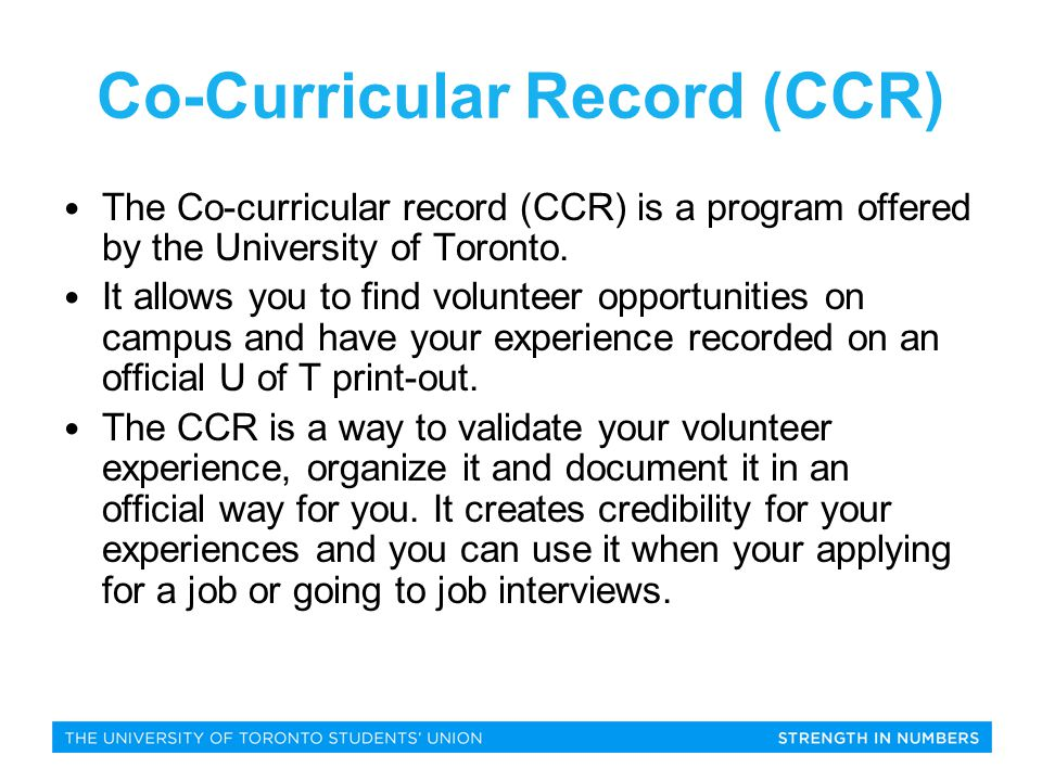 What is There to Choose From? U of T OPPORTUNITIES
