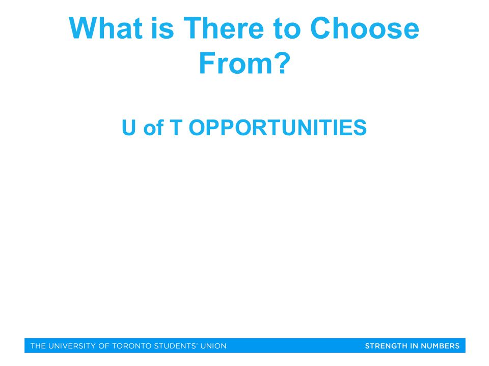 What is There to Choose From U of T OPPORTUNITIES