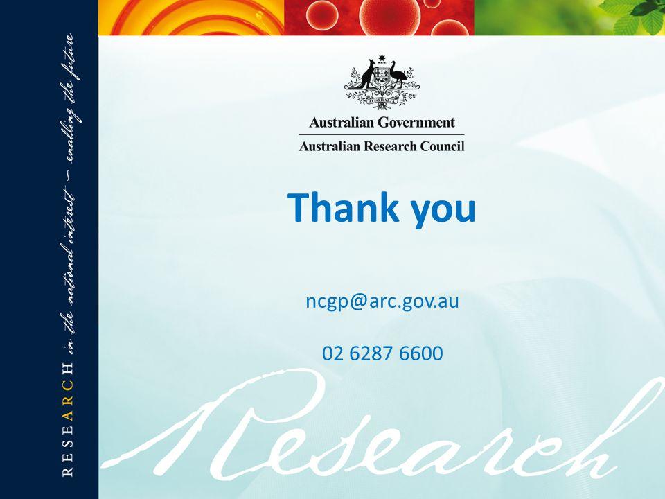 Thank you ncgp@arc.gov.au 02 6287 6600