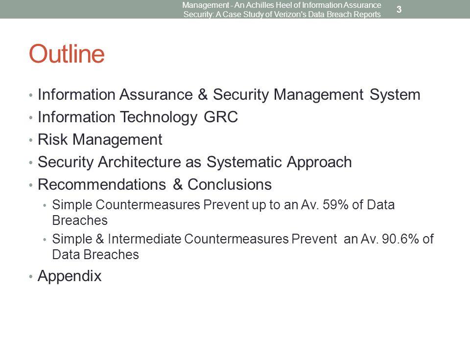 Risk Management Management - An Achilles Heel of Information Assurance Security: A Case Study of Verizon s Data Breach Reports 24
