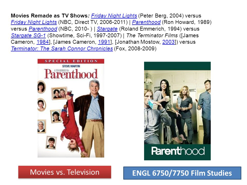 ENGL 6750/7750 Film Studies Movies Remade as TV Shows: Friday Night Lights (Peter Berg, 2004) versus Friday Night Lights (NBC, Direct TV, 2006-2011) |