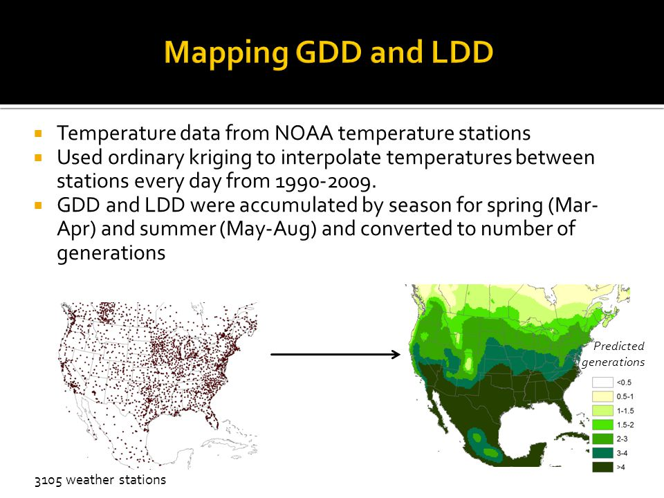  Temperature data from NOAA temperature stations  Used ordinary kriging to interpolate temperatures between stations every day from 1990-2009.