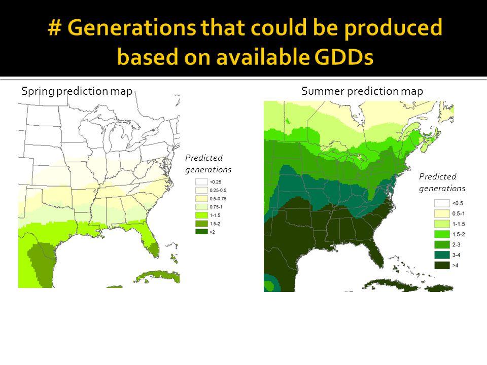 Spring prediction map Summer prediction map Predicted generations
