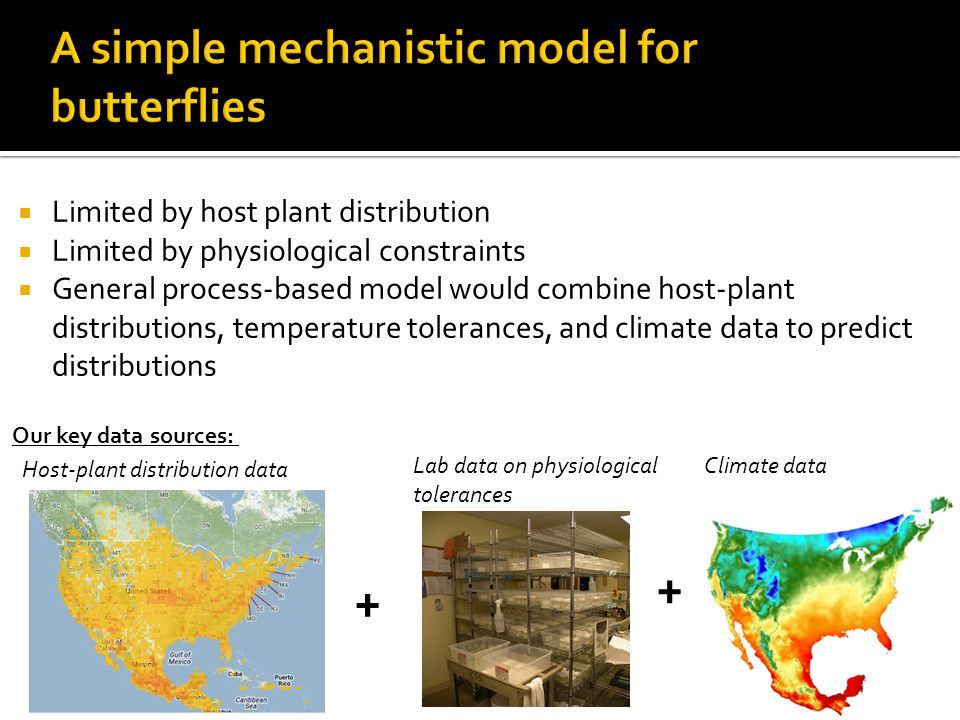 Limited by host plant distribution  Limited by physiological constraints  General process-based model would combine host-plant distributions, temperature tolerances, and climate data to predict distributions + + Lab data on physiological tolerances Climate data Host-plant distribution data Our key data sources: