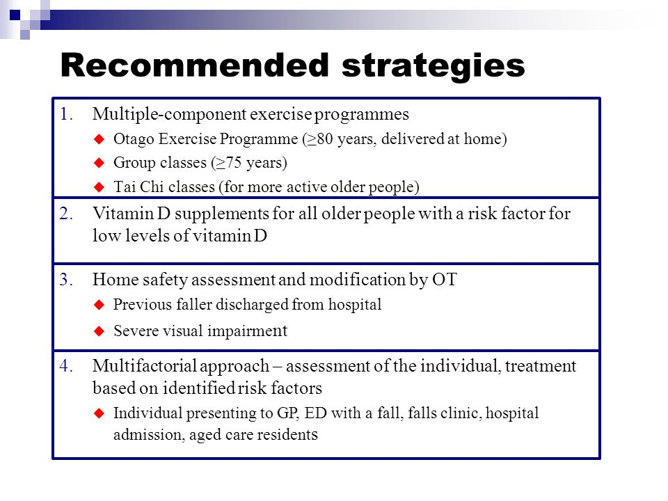 Recommended strategies 1.Multiple-component exercise programmes  Otago Exercise Programme (≥80 years, delivered at home)  Group classes (≥75 years)