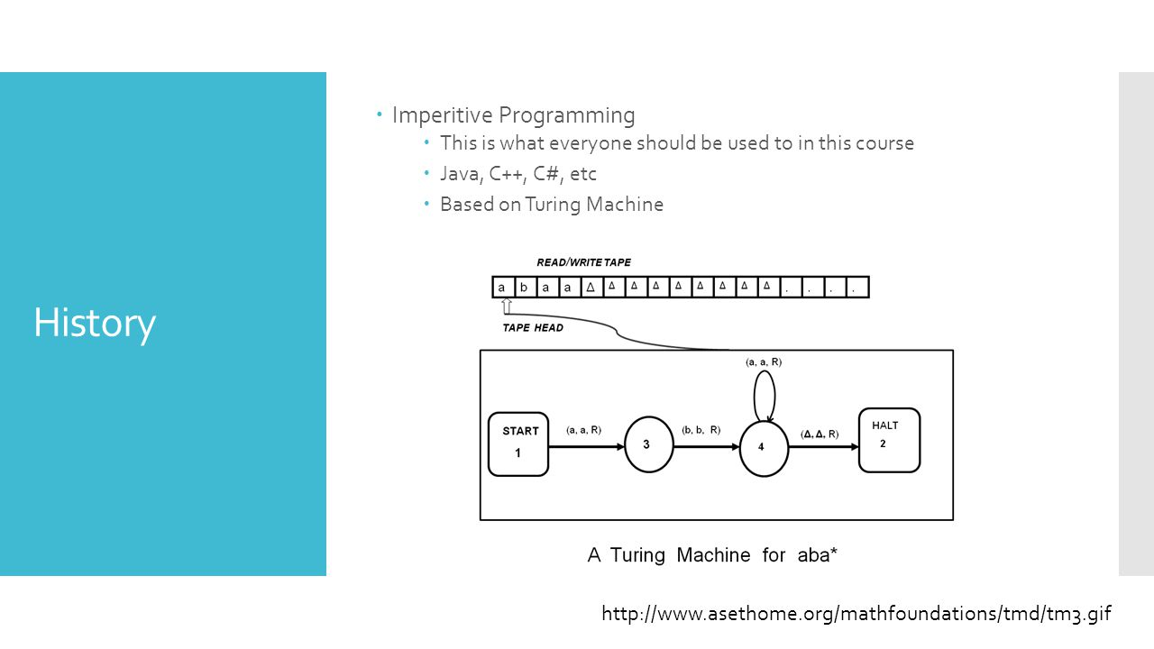 History  Imperitive Programming  This is what everyone should be used to in this course  Java, C++, C#, etc  Based on Turing Machine http://www.asethome.org/mathfoundations/tmd/tm3.gif