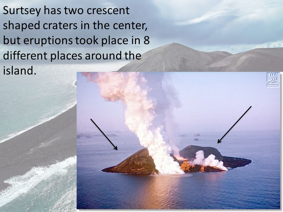 130 meters under water, an explosive eruption occurred and 1 day later the island was above the surface, made of tephra, or volcanic ash formed by hot lava cooled by the sea.