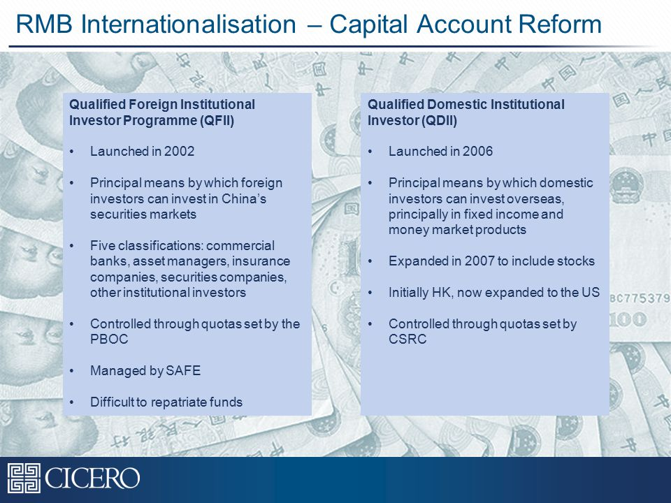 RMB Internationalisation – Capital Account Reform Qualified Foreign Institutional Investor Programme (QFII) Launched in 2002 Principal means by which foreign investors can invest in China's securities markets Five classifications: commercial banks, asset managers, insurance companies, securities companies, other institutional investors Controlled through quotas set by the PBOC Managed by SAFE Difficult to repatriate funds Qualified Domestic Institutional Investor (QDII) Launched in 2006 Principal means by which domestic investors can invest overseas, principally in fixed income and money market products Expanded in 2007 to include stocks Initially HK, now expanded to the US Controlled through quotas set by CSRC
