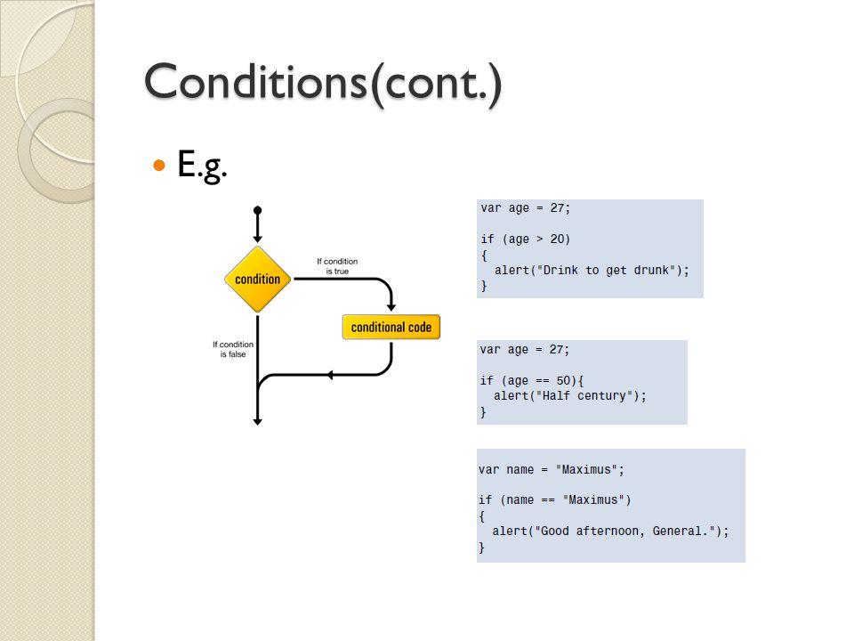 Conditions(cont.) E.g.