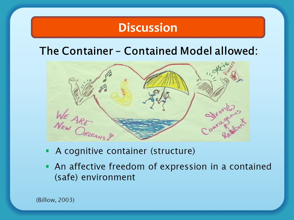 Discussion The Container – Contained Model allowed:  A cognitive container (structure)  An affective freedom of expression in a contained (safe) env