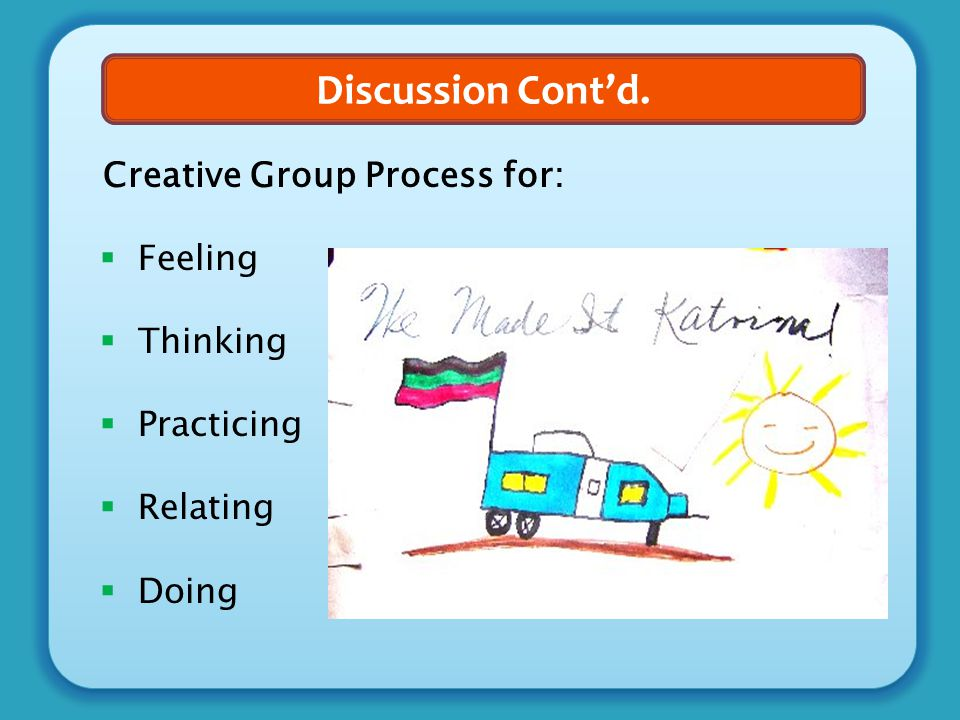 Discussion Cont'd. Creative Group Process for:  Feeling  Thinking  Practicing  Relating  Doing