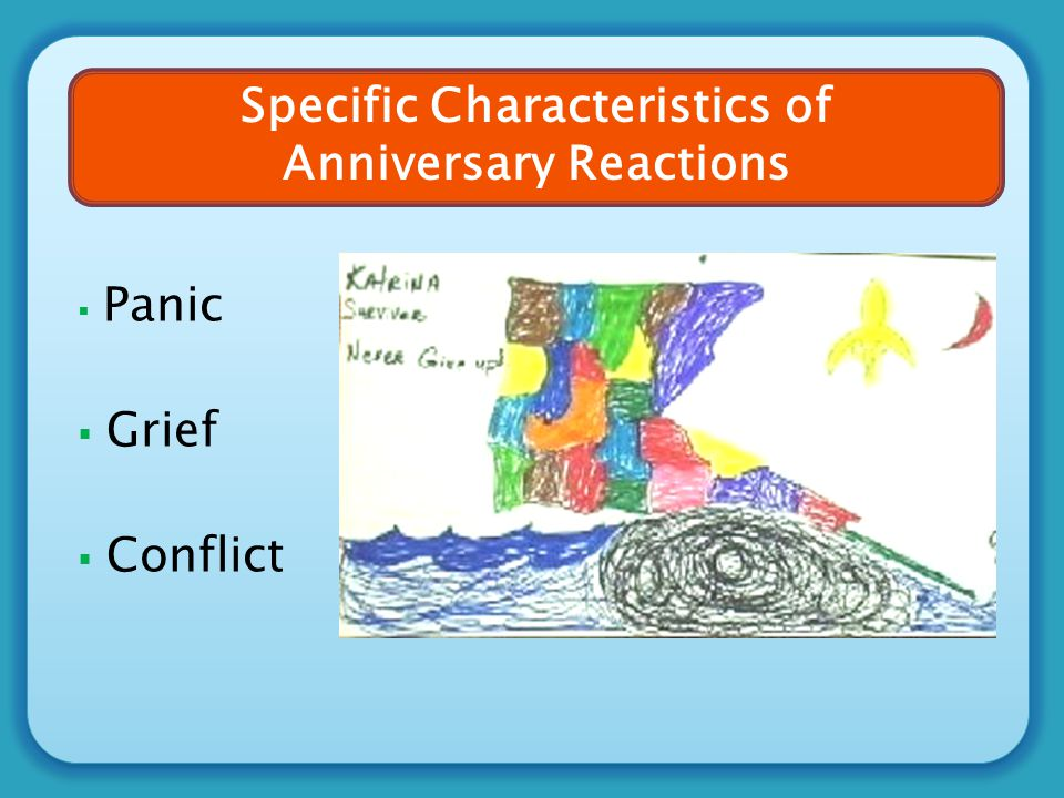  Panic  Grief  Conflict Specific Characteristics of Anniversary Reactions