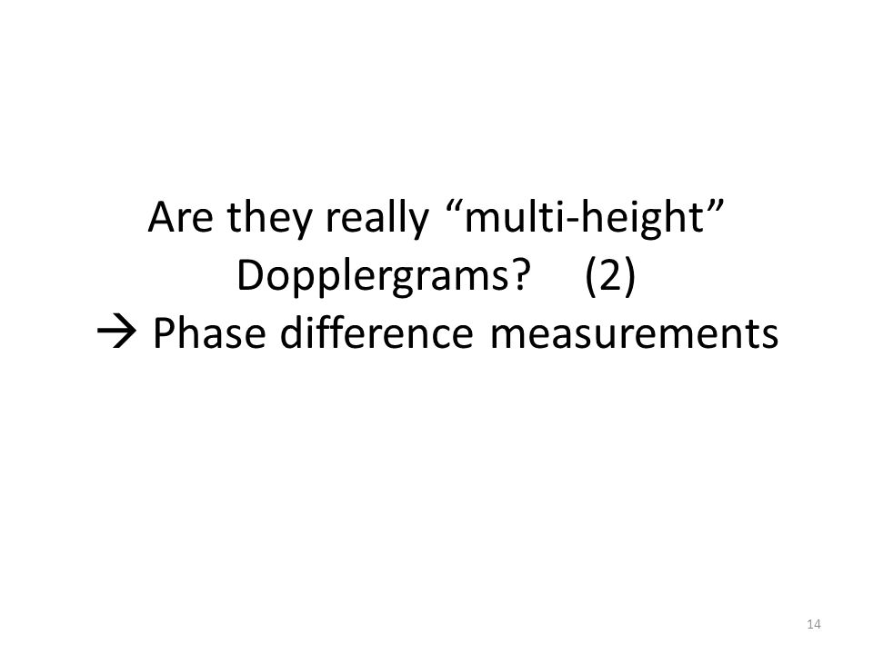 Are they really multi-height Dopplergrams (2)  Phase difference measurements 14