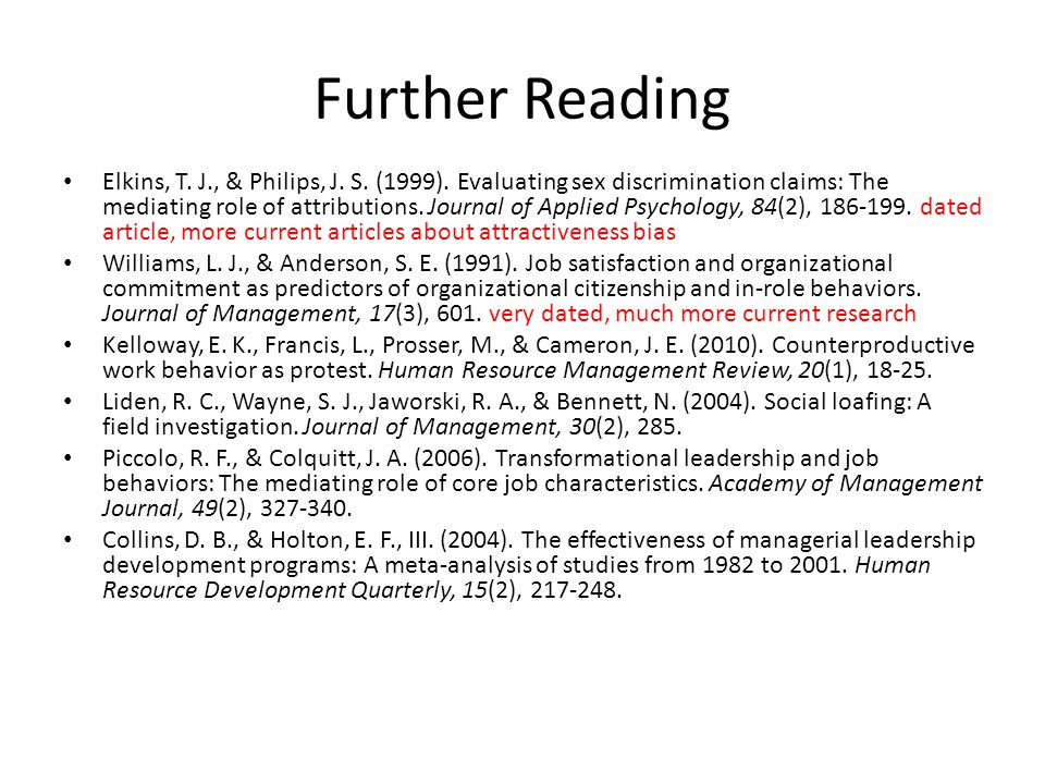 Further Reading Elkins, T. J., & Philips, J. S. (1999).