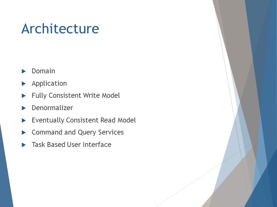 Architecture  Domain  Application  Fully Consistent Write Model  Denormalizer  Eventually Consistent Read Model  Command and Query Services  Task Based User Interface