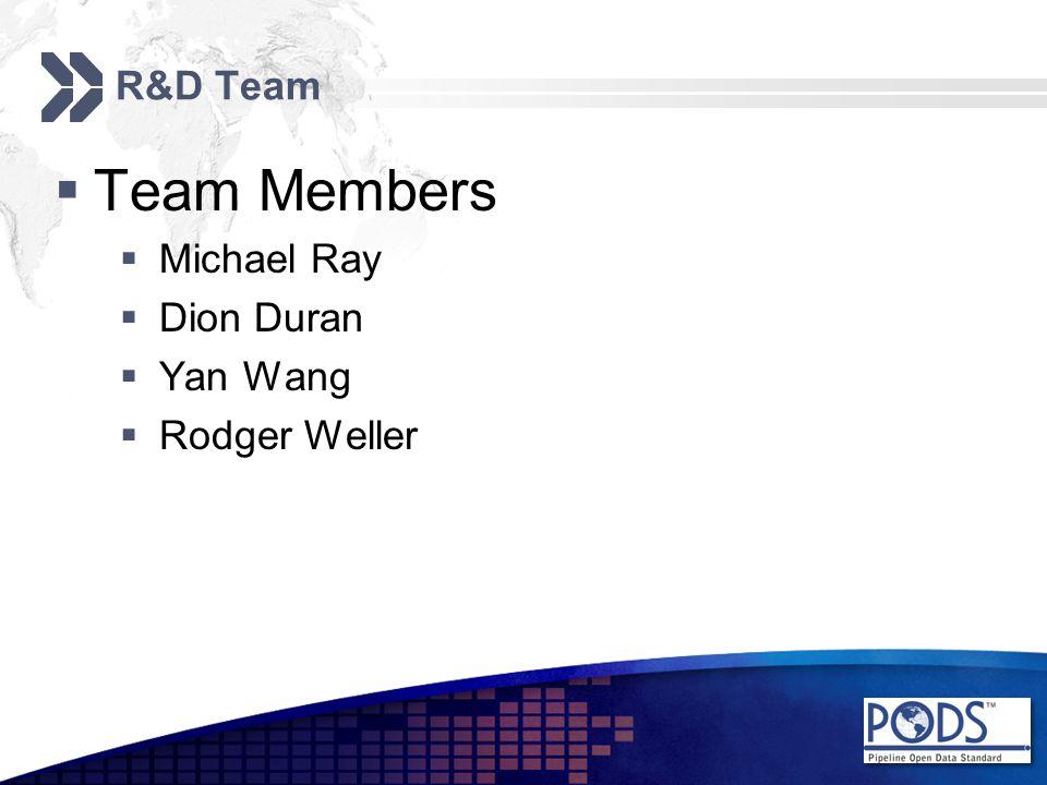 R&D Team  Team Members  Michael Ray  Dion Duran  Yan Wang  Rodger Weller