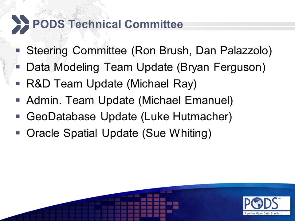 PODS Technical Committee  Steering Committee (Ron Brush, Dan Palazzolo)  Data Modeling Team Update (Bryan Ferguson)  R&D Team Update (Michael Ray)  Admin.