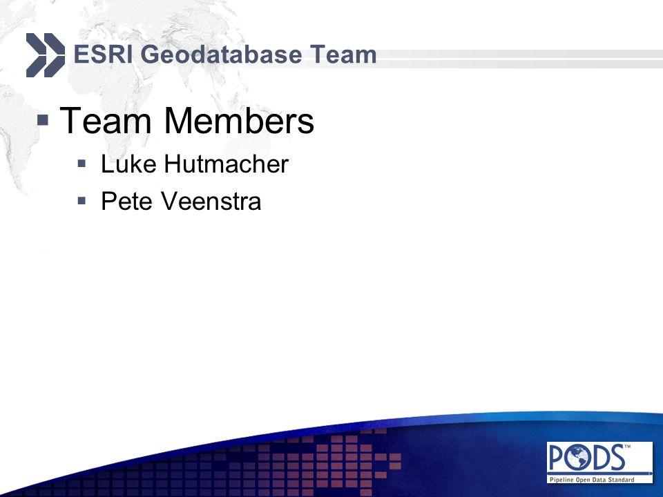 ESRI Geodatabase Team  Team Members  Luke Hutmacher  Pete Veenstra