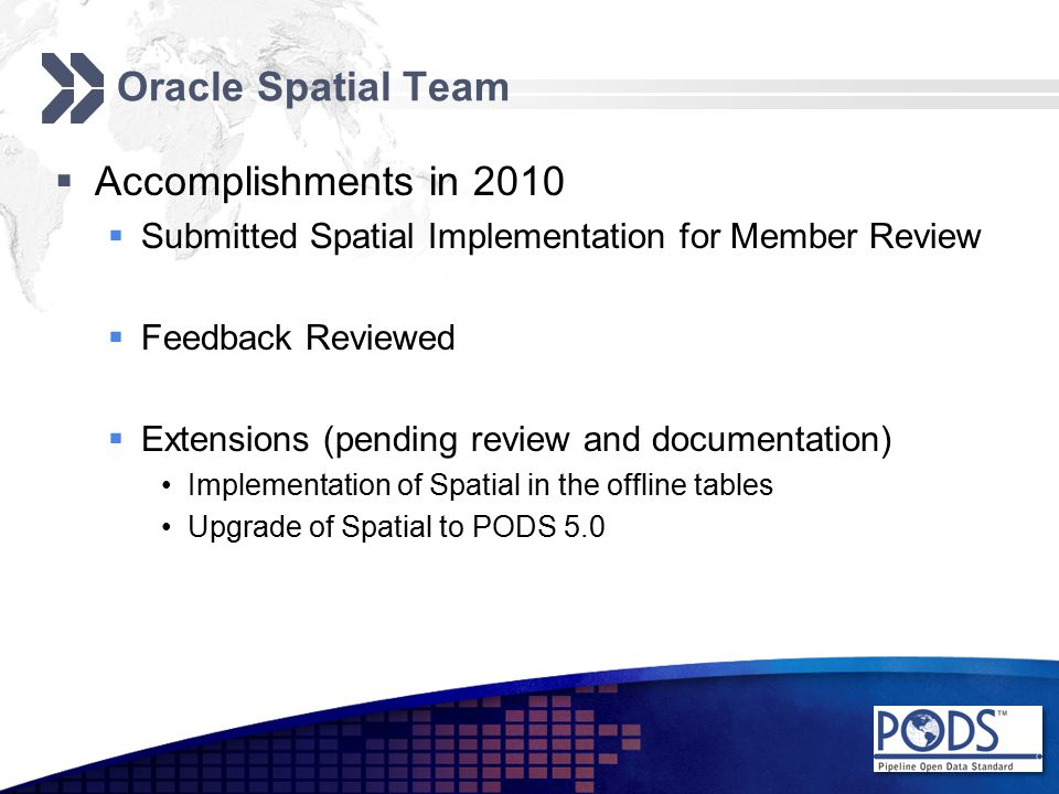 Oracle Spatial Team  Accomplishments in 2010  Submitted Spatial Implementation for Member Review  Feedback Reviewed  Extensions (pending review and documentation) Implementation of Spatial in the offline tables Upgrade of Spatial to PODS 5.0