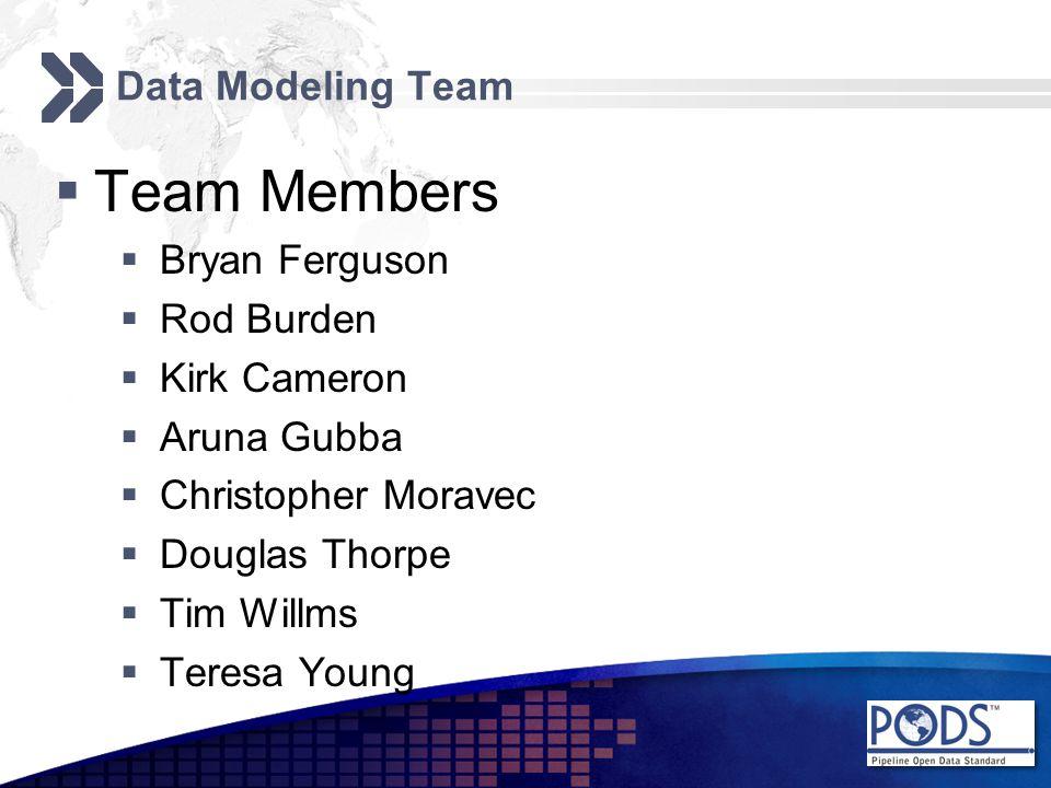 Data Modeling Team  Team Members  Bryan Ferguson  Rod Burden  Kirk Cameron  Aruna Gubba  Christopher Moravec  Douglas Thorpe  Tim Willms  Teresa Young