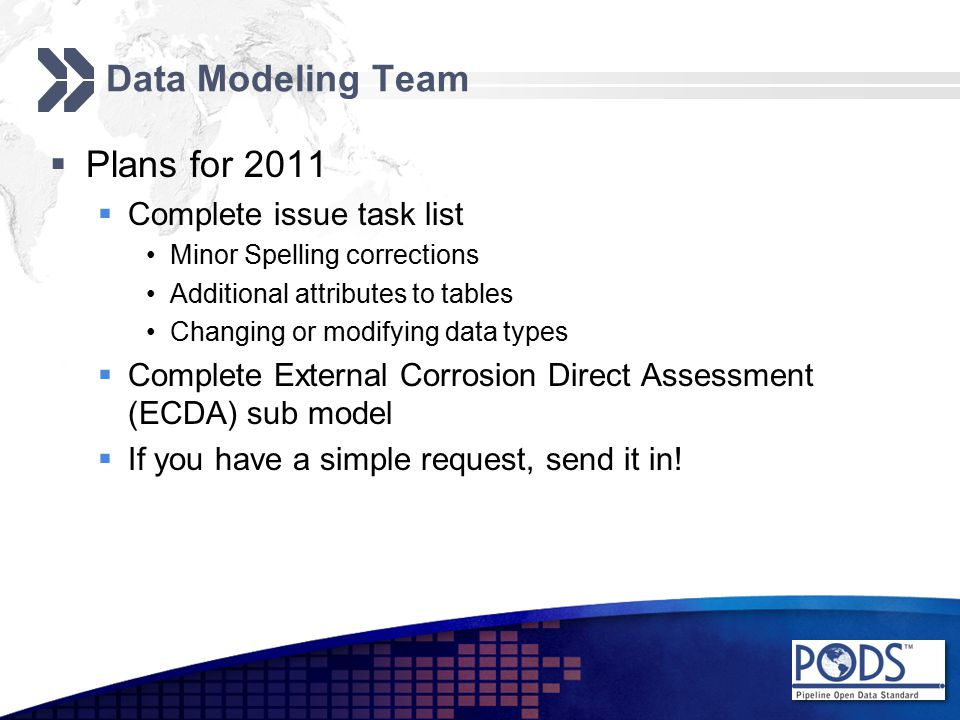Data Modeling Team  Plans for 2011  Complete issue task list Minor Spelling corrections Additional attributes to tables Changing or modifying data types  Complete External Corrosion Direct Assessment (ECDA) sub model  If you have a simple request, send it in!
