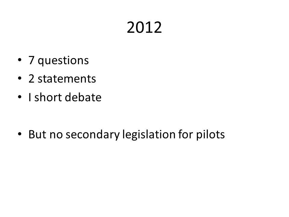 2012 7 questions 2 statements I short debate But no secondary legislation for pilots