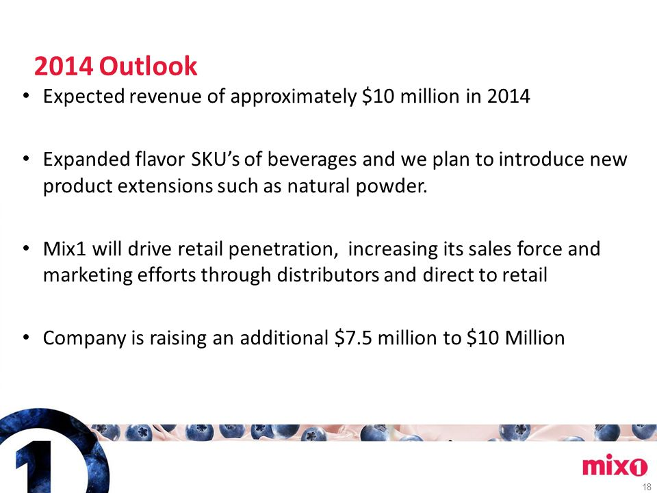 18 2014 Outlook Expected revenue of approximately $10 million in 2014 Expanded flavor SKU's of beverages and we plan to introduce new product extensio