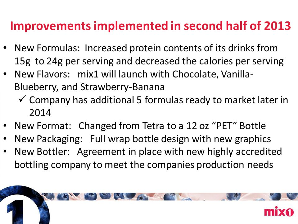 Improvements implemented in second half of 2013 New Formulas: Increased protein contents of its drinks from 15g to 24g per serving and decreased the c