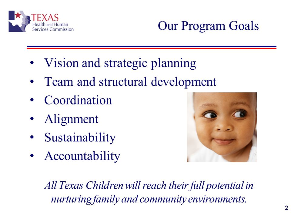 Vision and strategic planning Team and structural development Coordination Alignment Sustainability Accountability Our Program Goals All Texas Children will reach their full potential in nurturing family and community environments.