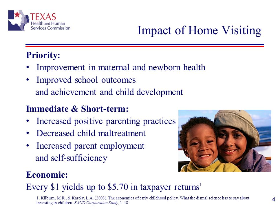 Priority: Improvement in maternal and newborn health Improved school outcomes and achievement and child development Immediate & Short-term: Increased positive parenting practices Decreased child maltreatment Increased parent employment and self-sufficiency Economic: Every $1 yields up to $5.70 in taxpayer returns 1 1.