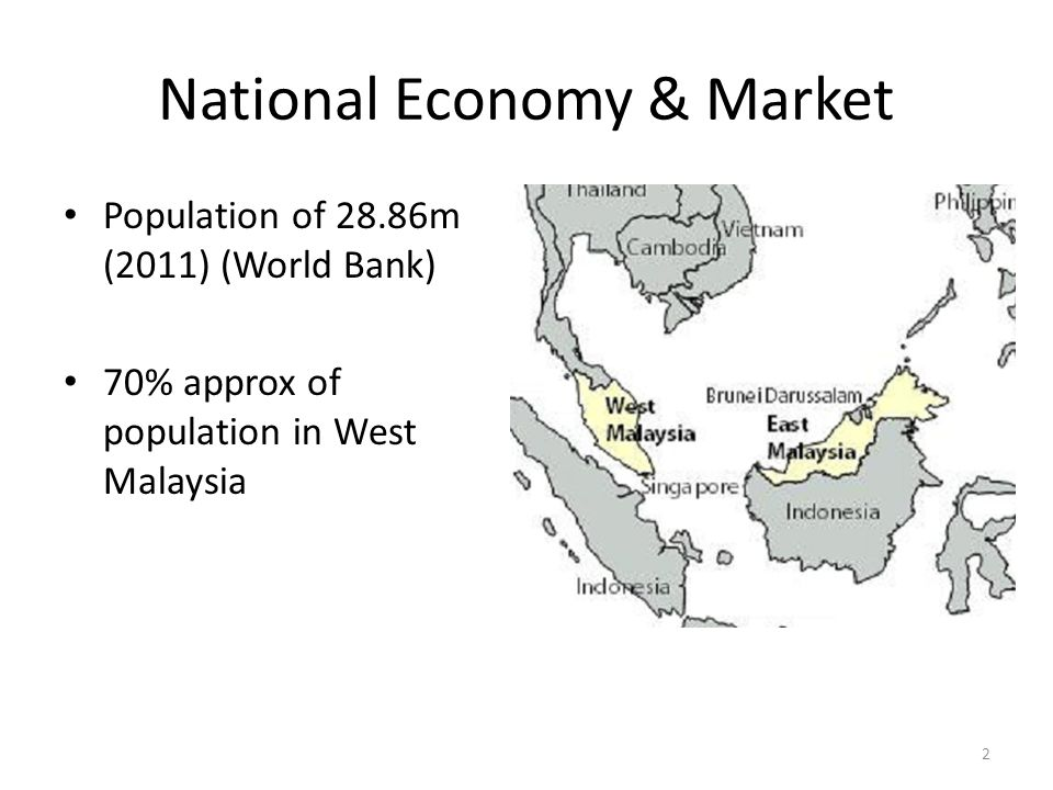 National Economy & Market Middle income country (per capita GDP of slightly more than US$ 8,600 in 2010) One of the fastest-growing economies in the world in the last half a century Upgraded itself out of 'traditional' natural-resource industries (rubber and tin), first into other natural resources (palm oil), then into processed natural resources (processed palm oil), and then into manufacturing (electronics and others) World's third highest share of high technology exports (as defined by the World Bank) in total manufactured exports – 40% as of 2008 (Source: Ha-Joon Chang, 2011 – UNDP Lecture) 3