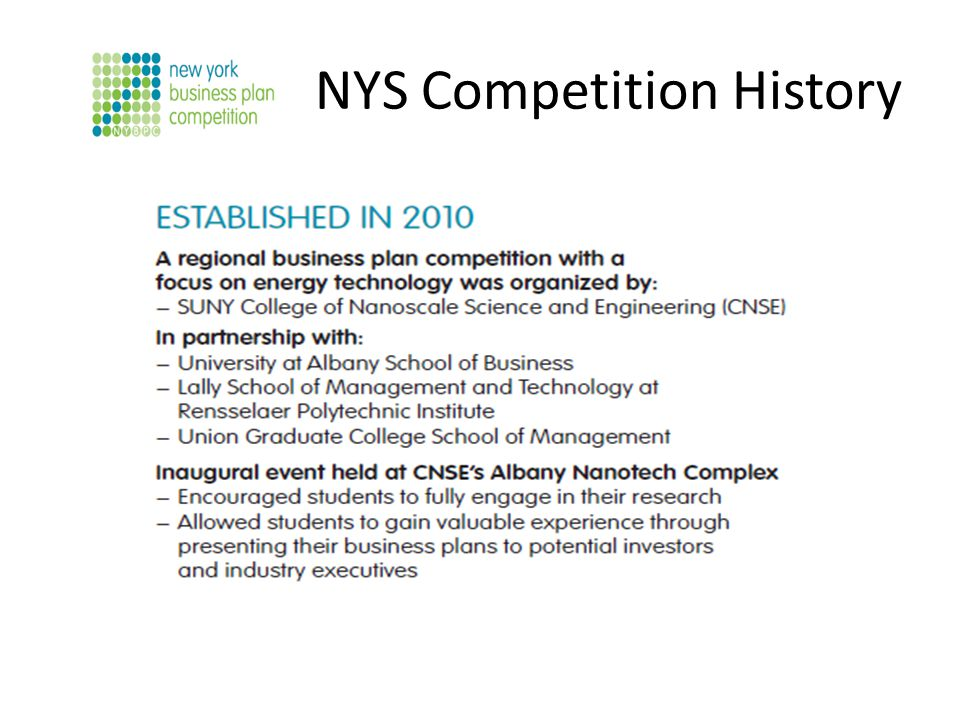 NYS Competition History