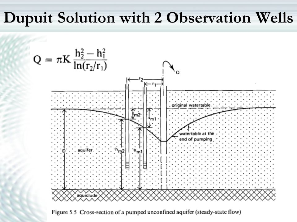Dupuit Solution with 2 Observation Wells