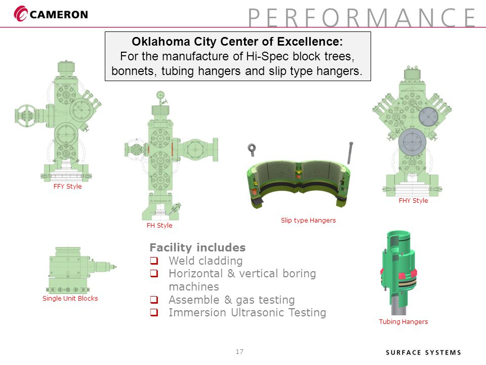 Facility includes  Weld cladding  Horizontal & vertical boring machines  Assemble & gas testing  Immersion Ultrasonic Testing Oklahoma City Center