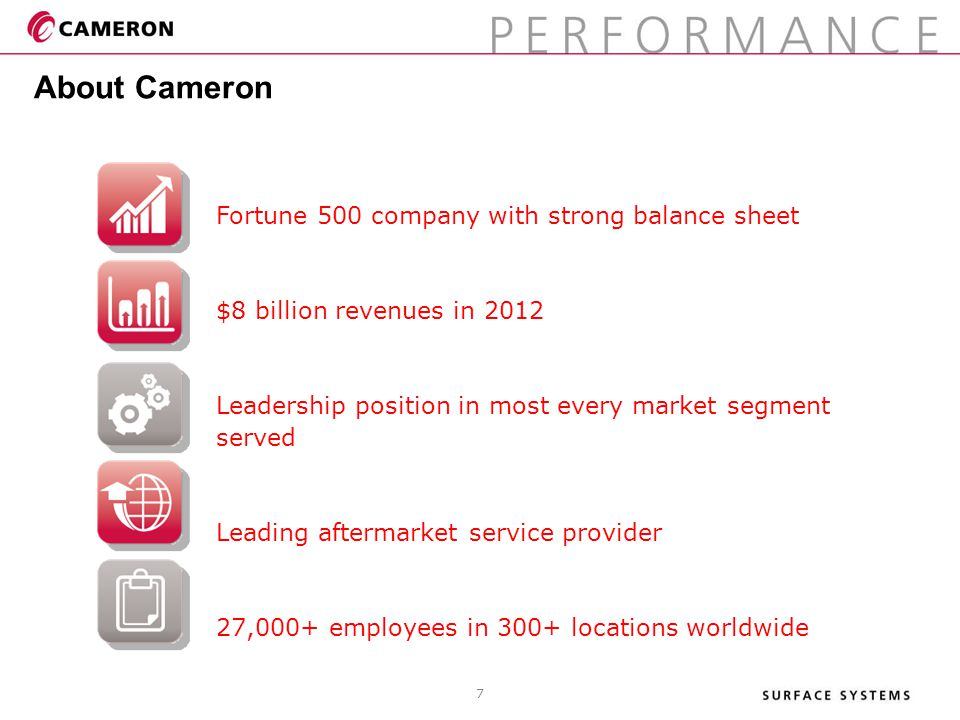 About Cameron 7 Fortune 500 company with strong balance sheet $8 billion revenues in 2012 Leadership position in most every market segment served Lead